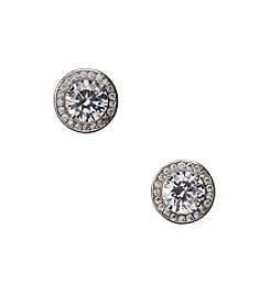 BT-Jeweled Framed Cubic Zirconia Stud Earrings