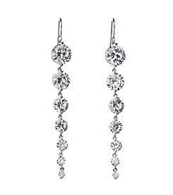 BT-Jeweled Linear Cubic Zirconia Drop Earrings