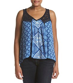 Skylar & Jade™ Plus Size Lace Yoke Swing Tank