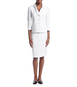 LeSuit® Three Button Jacket And Skirt Suit Set