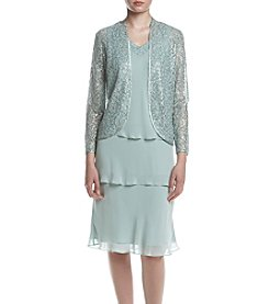 S.L. Fashions Sage Sequin Chiffon Tiered Jacket Dress