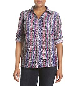 Studio Works® Plus Size Printed Button Front Shirt