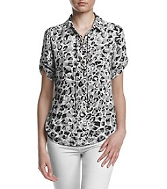 Jones New York® Printed Lace Up Top