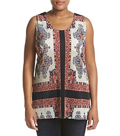 Oneworld® Plus Size Scarf Printed Tank