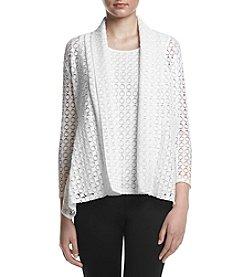 Kasper® Circle Lace Knit Cardigan