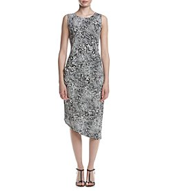 Calvin Klein Printed Side Ruched Dress