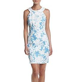 Taylor Dresses Crochet Trim Printed Dress