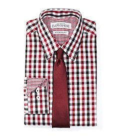 Nick Graham® Men's Multi Gingham Fitted Dress Shirt With Tie