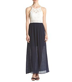 A. Byer Lace Top Gauze Maxi Dress