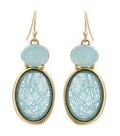 Erica Lyons® Goldtone Aqua Oval Drop Earrings