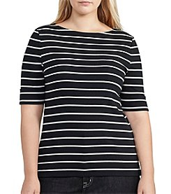Lauren Ralph Lauren® Plus Size Boatneck Striped Tee With Stretch