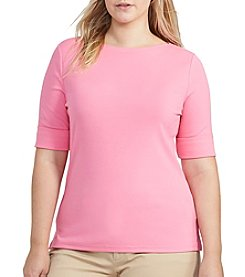 Lauren Ralph Lauren® Plus Size Boatneck Stretch Cotton Tee