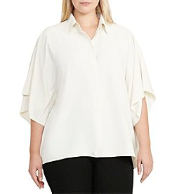 Lauren Ralph Lauren® Plus Size Draped Button-Up Blouse