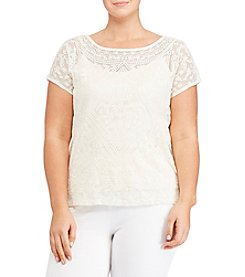 Lauren Ralph Lauren® Plus Size Embroidered Sheer Tee