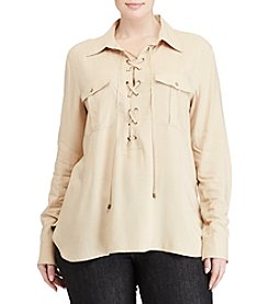 Lauren Ralph Lauren® Plus Size Lace-Up Crepe Tunic