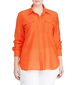 Lauren Ralph Lauren® Plus Size Cotton-Silk Voile Shirt