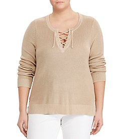 Lauren Ralph Lauren® Plus Size Cotton-Blend Lace-Up Sweater
