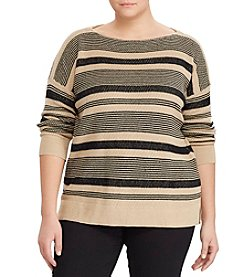 Lauren Ralph Lauren® Plus Size Striped Linen-Cotton Sweater