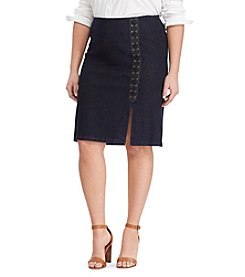 Lauren Ralph Lauren® Plus Size Lace-Up Denim Pencil Skirt