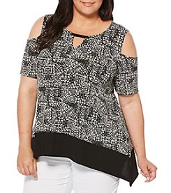 Rafaella® Plus Size Printed Cold Shoulder Top