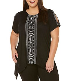 Rafaella® Plus Size Embroidered Cold Shoulder Tunic