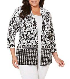 Rafaella® Plus Size Printed Knit Cardigan