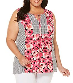 Rafaella® Plus Size Floral Gingham Top