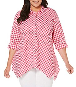 Rafaella® Plus Size Gingham Button Front Blouse