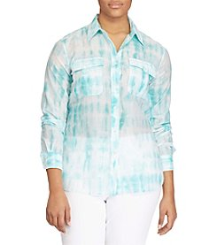 Lauren Ralph Lauren® Plus Size Tie-Dye Button-Down Shirt