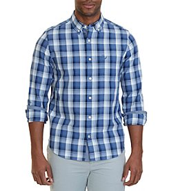 Nautica® Slim Fit Mist Long Sleeve Plaid Button Down