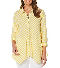 Rafaella® Gingham Roll Tab Sleeve Top