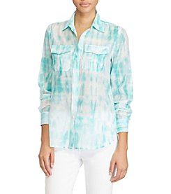 Lauren Ralph Lauren® Petites' Tie-Dye Button-Down Shirt