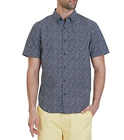 Nautica® Classic Fit Mini Leaf Print Short Sleeve Button Down