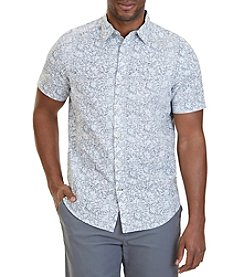 Nautica® Classic Fit Floral Print Linen-Blend Short Sleeve Shirt