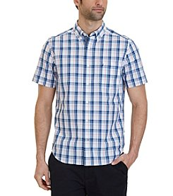 Nautica® Men's Classic Fit Coral Plaid Short Sleeve Shirt