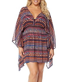 Jessica Simpson Plus Size Open Back Chiffon Cover Up