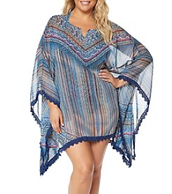 Jessica Simpson Plus Size Lace Edge Kimono Coverup