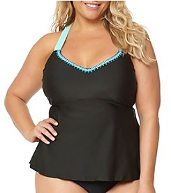 Jessica Simpson Plus Size Crossback Tankini Swim Top