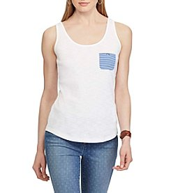 Chaps® Striped-Pocket Cotton Tank