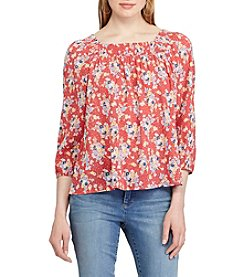 Chaps® Floral-Print Smocked Top