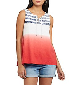 Chaps® Dip-Dye Striped Cotton Tank
