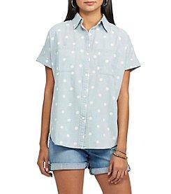 Chaps® Polka-Dot Chambray Shirt