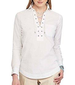 Chaps® Lace-Up Stretch Cotton Shirt