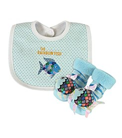 Stephan Baby® Rainbow Fish Bib And Rattle Socks Set
