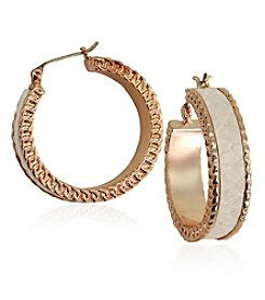 GUESS Chain Accent Hoop Earrings