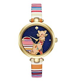 kate spade new york® Camel Leather Holland Watch