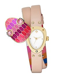 kate spade new york® Vachetta Leather Snake Double Wrap Watch