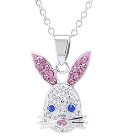 Athra Silver Plated Crystal Pave Bunny Necklace