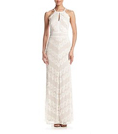 NW Collections Long Mitered Lace Dress