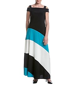 R&M Richards® Petites' Black Turquoise Cold Shoulder Dress